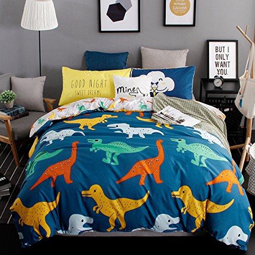 Hxiang 3-Pieces dinosaur kid's bedding set Bedding 100% Microfiber boy's Bedding Set Blue Duvet Cover Set (Full, Blue)