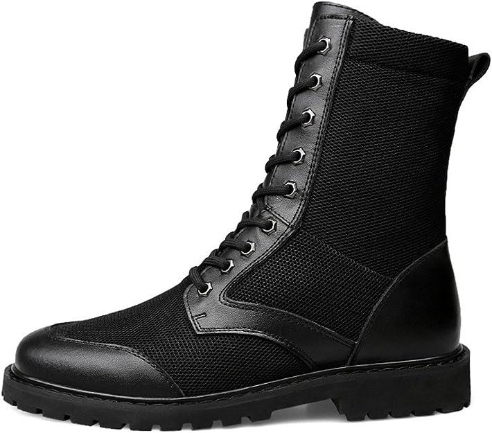 ailishabroy Patrouille Militaire de Travail pour Hommes Bottes de randonn/ée Tactique Chaussures en Cuir Noir d/ét/é Bottes Respirantes