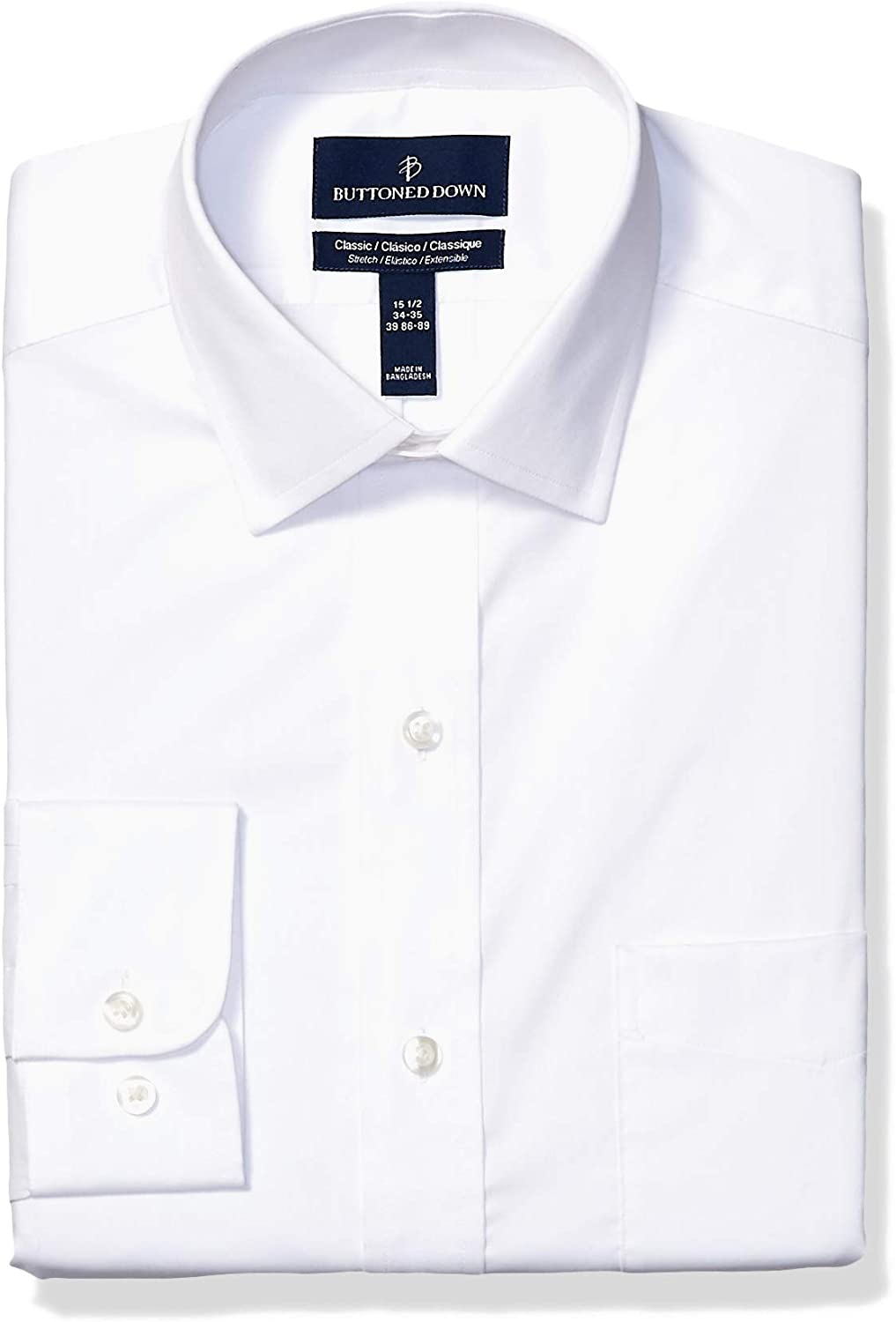 Amazon Brand - Buttoned Down Men's Classic Fit Performance Tech Stretch Dress Shirt, Supima Cotton Easy Care