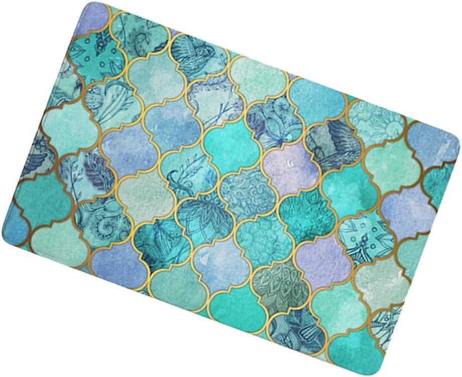 Tapis antid/érapant absorbant motifs g/éom/étriques 50 x 80 cm salle de bain D2020-1. Fonte daluminium pour toilettes cuisine