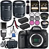 Canon EOS 7D Mark II DSLR Camera 9128B002 + Canon EF-S 55-250mm Lens + Canon EF-S 18-55mm f/3.5-5.6 IS STM Lens + 58mm Wide Angle Lens + 58mm 2x Lens + Sony 16GB &32GB SDHC Card Bundle