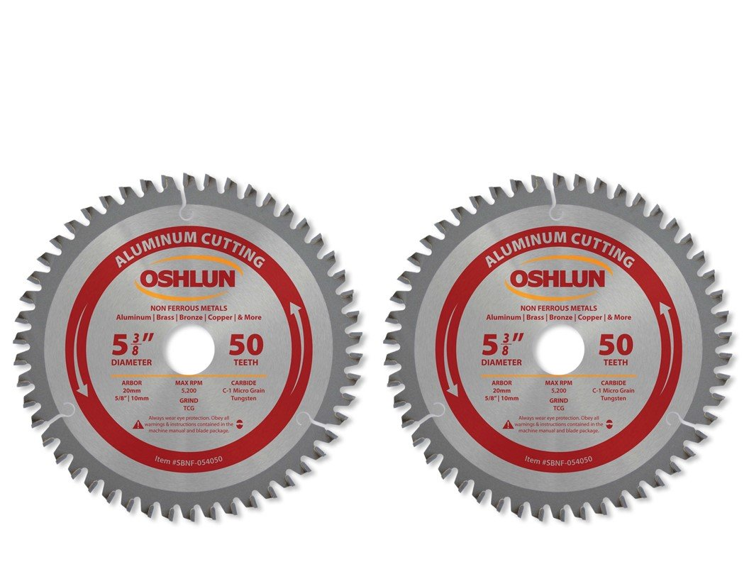 Oshlun SBNF-054050 5-3/8-Inch 50 Tooth TCG Saw Blade with 20mm Arbor (5/8-Inch and 10mm Bushings) for Aluminum and Non Ferrous Metals - 2 Pack (2)