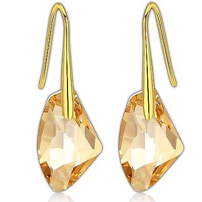2da5b59f616d Pendientes Swarovski- Aretes de Plata Fina 925 para Mujeres con Golden  Shadow Verde Cristales Swarovski