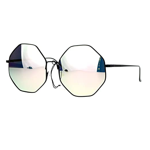 e0d1f8a88e73 Amazon.com  Womens Octagon Shape Sunglasses Metal Frame Black