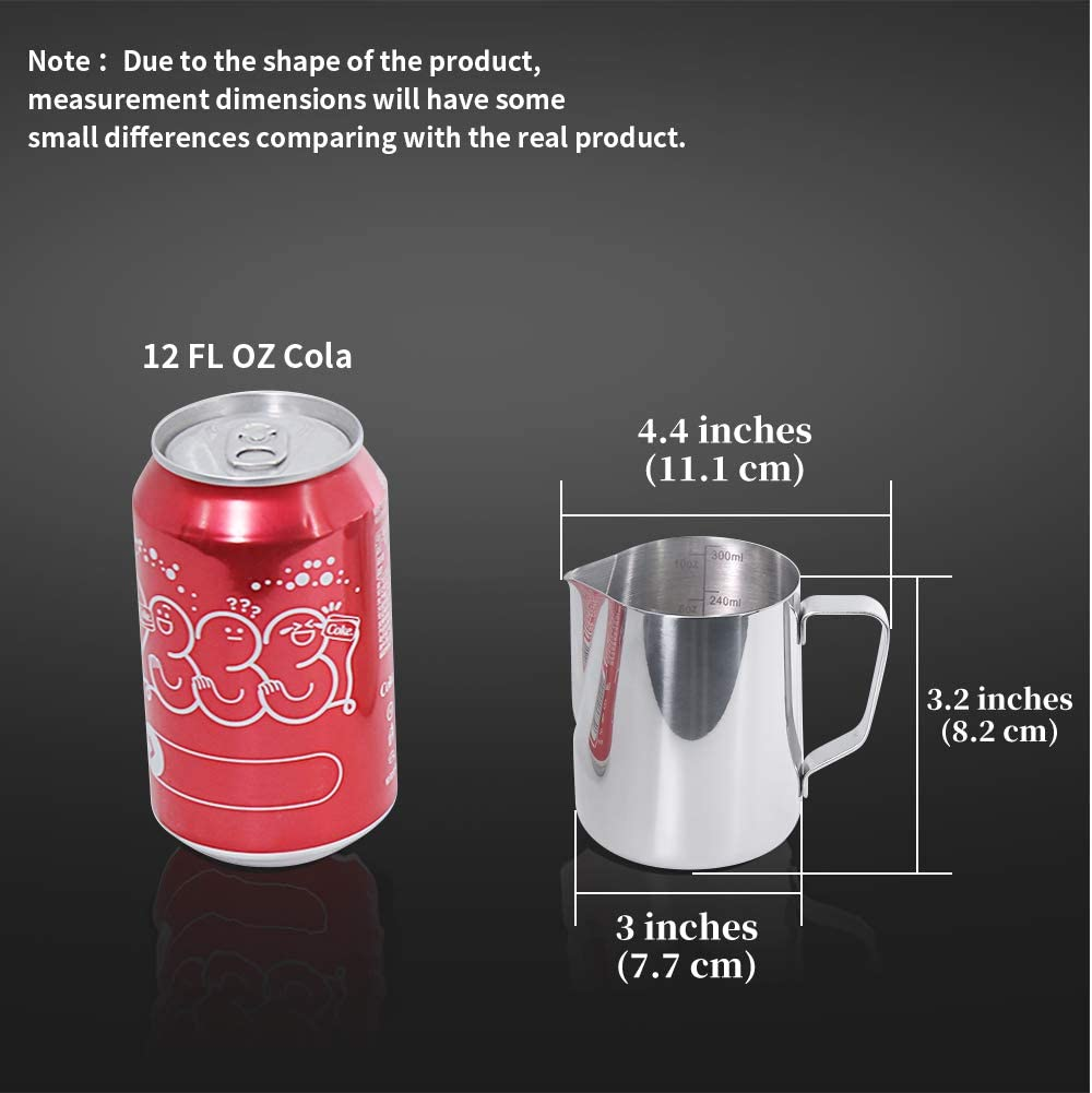 300 ML Milk Jug with Scale Newness Milk Frothing Pitcher Cup, ML, Ounce Cup for Cappuccino Espresso Cafe Maker Art Steaming Pitchers 304 Stainless Steel Milk Pitcher Cup Barista Coffee Latte Jug