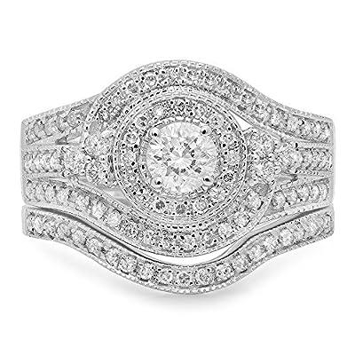 1.00 Carat (ctw) 14k White Gold Round Diamond Ladies Vintage Bridal Engagement Ring Wedding Band Set 1 CT