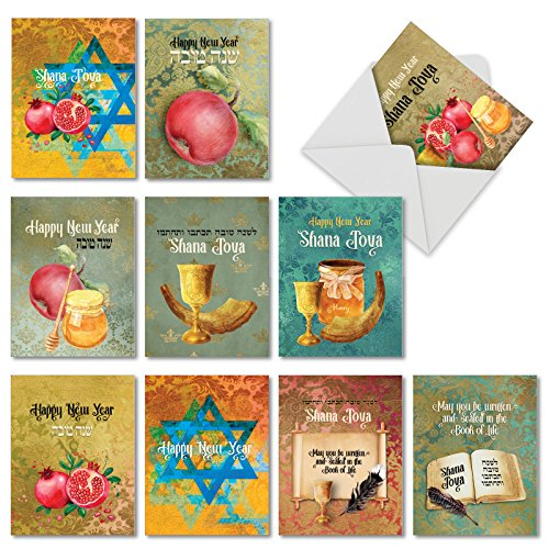 Shana Tova -  AM6135RHG-B1x10 10 Assorted Jewish New Year Cards with Envelopes (4 x 5.12 Inch) - Rosh Hashanah Celebration Greetings - Boxed, Religious Happy Holiday Note Card Set