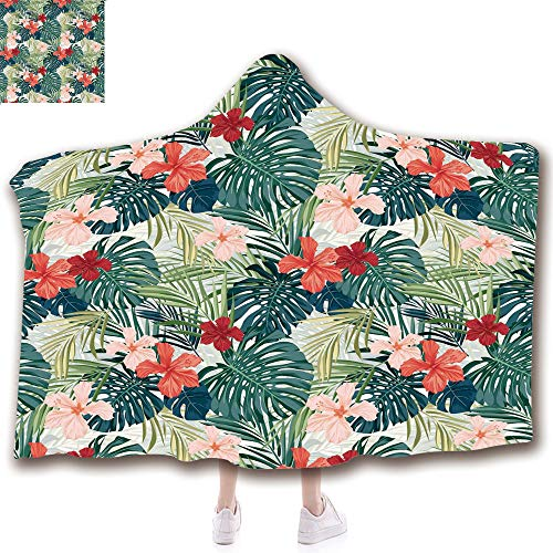 Fashion Blanket Ancient China Decorations Blanket Wearable Hooded Blanket,Unisex Swaddle Blankets for Babies Newborn by,Hibiscus Plumeria Crepe Ginger Flowers Decoration,Adult Style Children - Plumeria Clasp