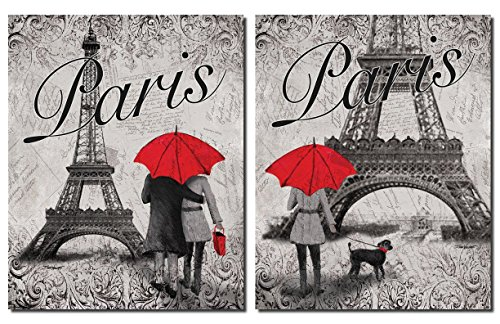 Strolling In Paris  Two Beautiful 11 X 14 In Poster Prints Eiffel Tower And Red Umbrella Set