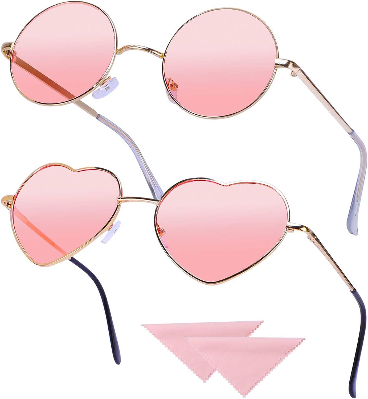 2 Pares Gafas Hippie Gafas de Sol en Forma de Corazón, Redondas Retro Gafas para Los Accesorios De Disfraces Hippie, Gafas Vintage con 2pcs Paño de Gafas, Marco Dorado Rosa: Amazon.es: Ropa