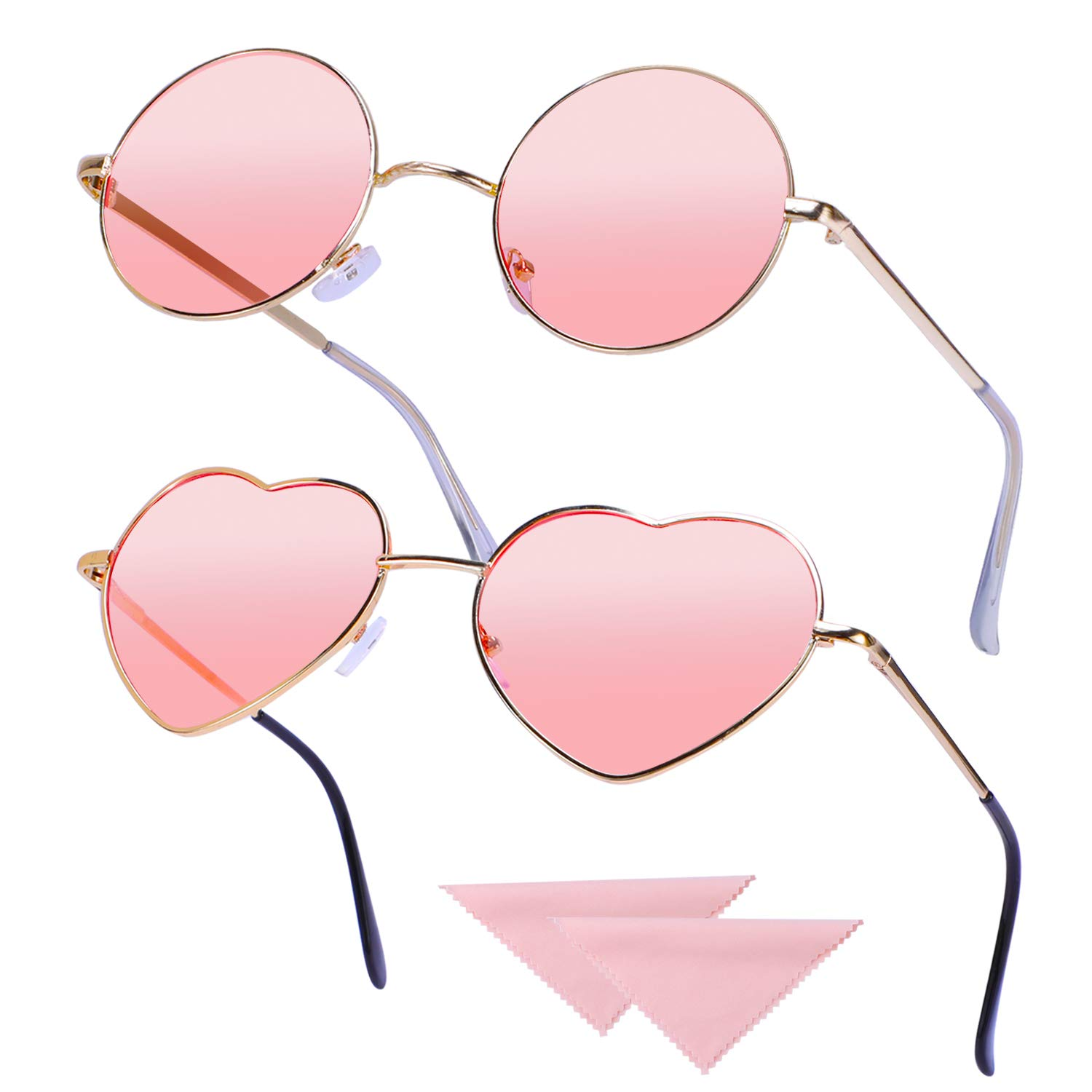 Rose Gold Frame Pink Hifot 2 pack Hippie Glasses Retro Round Glasses Heart shaped Glasses Set for 60s 70s Fancy Dress Accessory Vintage Sunglasses with 2pcs cleaning Cloth
