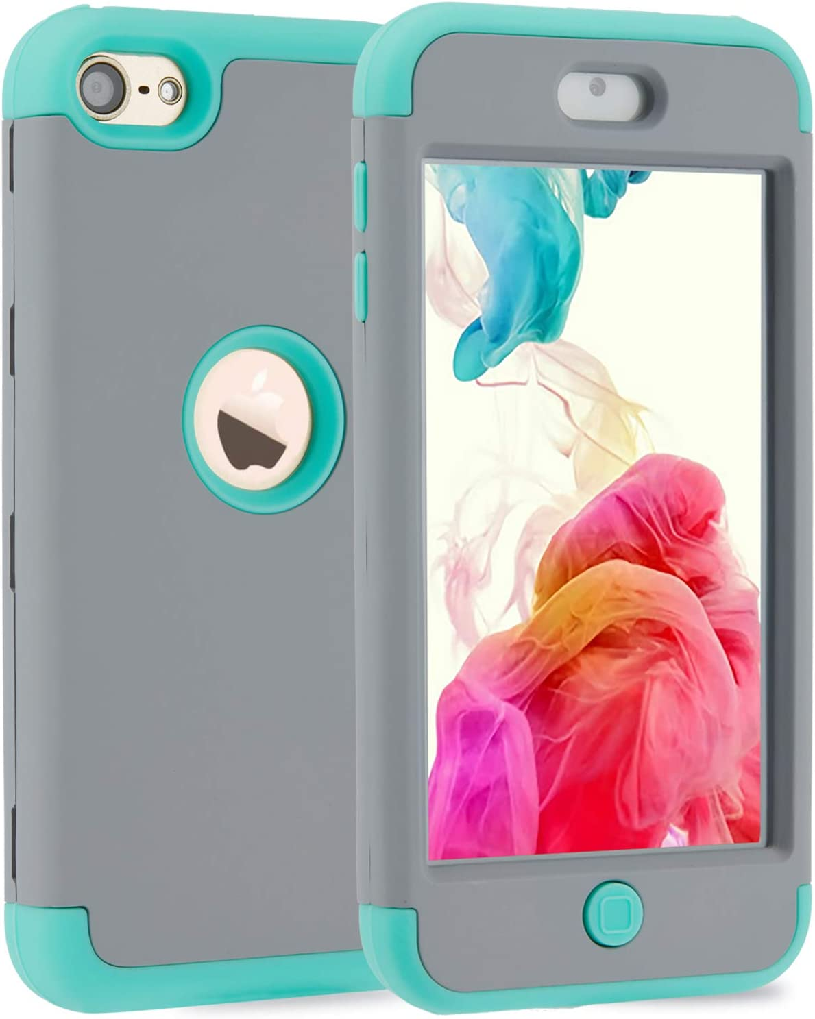 iPod Touch 5 Case, iPod Touch 6 Case, KZONOR 3in1 Hybrid Full Body Impact Resistant Shockproof Soft Silicone Bumper Case Cover for Apple iPod Touch 5th/6th Generation (Grey/Mint Green)