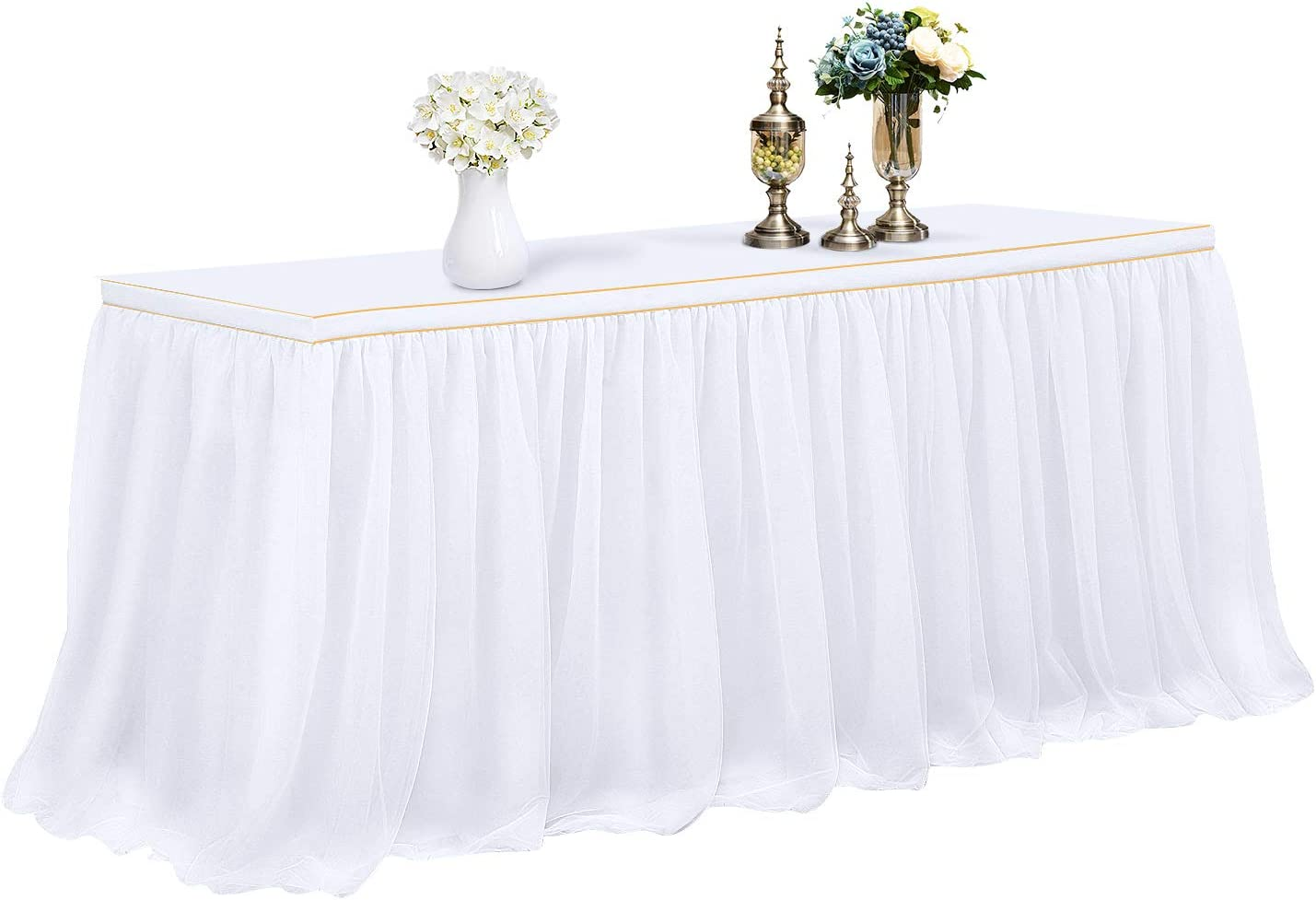 6FT X 0.8M, White CHIGER Tulle Table Skirt High-end Gold Brim Mesh Fluffy 2 Yards Tutu Table Skirt For Party,Wedding,Birthday Party/&Home Decoration