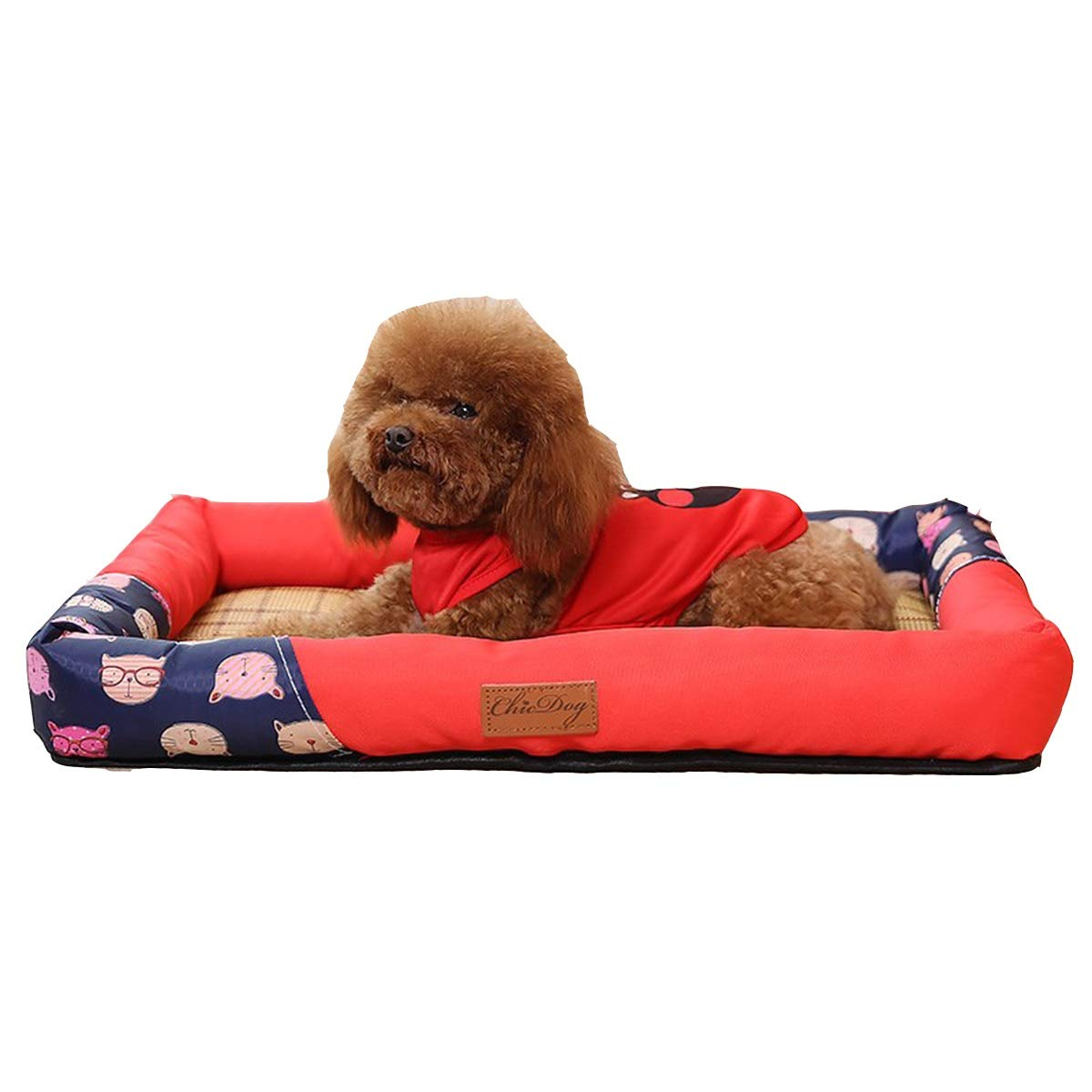 Red S Red S Kennel Summer Cool Nest, Small Dog Kennel, Summer Cool Mat Bed, Medium Dog, Dog Pet Cat Litter, Pink, Red 2 Optional (color   Red, Size   S)