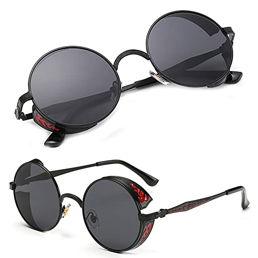 77585ab0c37b7 Doober Vintage Polarized Steampunk Sunglasses Fashion Men Women Round  Mirrored Eyewear (Black Gray