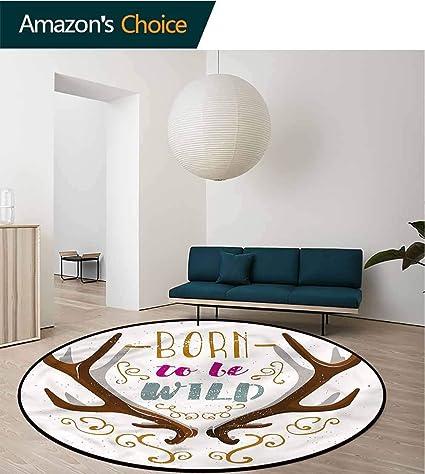 Amazon.com: RUGSMAT Antler Round Area Rug Carpet,Born to Be ...