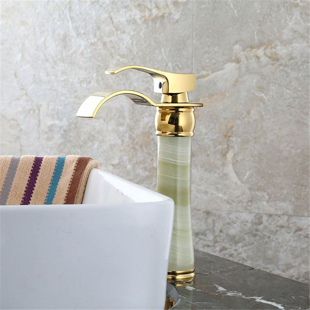 GQLB Kitchen sink mixer tap waterfall gold kitchen sink basin mixer tap solid brass hot and cold water