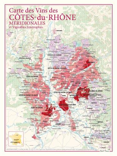 Carte des vins des côtes du Rhône -