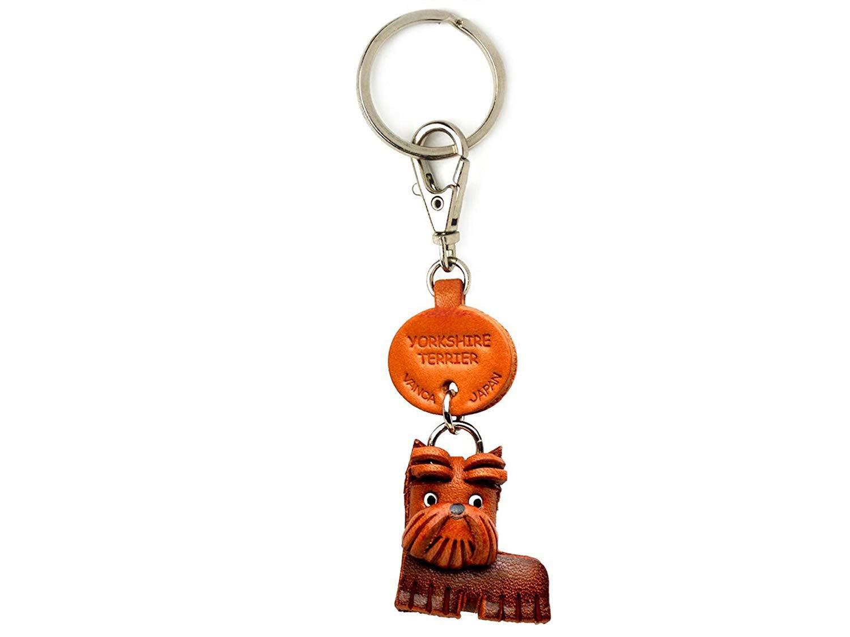 ヨークシャーテリアレザー犬小さなキーチェーンVANCA craft-collectibleキーリングチャームペンダント日本製 B008DPXUNI