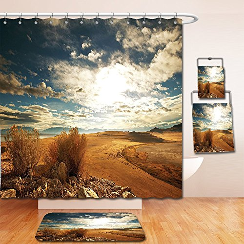 Nalahome Bath Suit: Showercurtain Bathrug Bathtowel Handtowel Americana Landscape Decor Prairie Hot Usa Mississippi River Valley with Idyllic View Image Orange - Premium Outlet Prairie