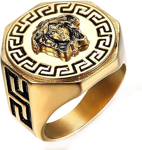NEW MEN/'S BIG CHUNKY 14K GOLD PLATED CLASSIC IcedMEDUSA RING