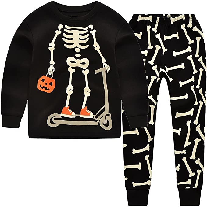 Mud Kingdom Glow in The Dark Kids Skeleton Home Clothes Sets