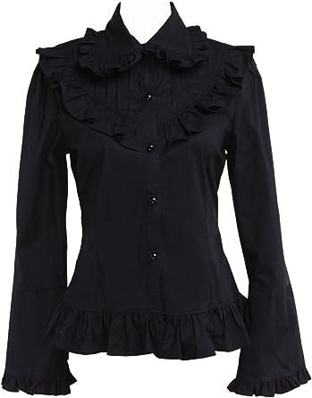 an*tai*na* Negra Algodón Volantes Encaje Classical Gotica Lolita Camisa Blusa de Mujer: Amazon.es: Ropa y accesorios