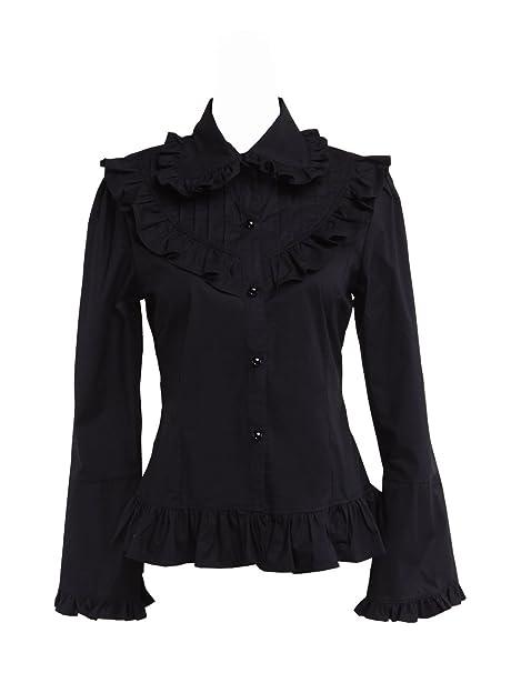 an*tai*na* Negra Algodón Volantes Encaje Classical Gotica Lolita Camisa Blusa de