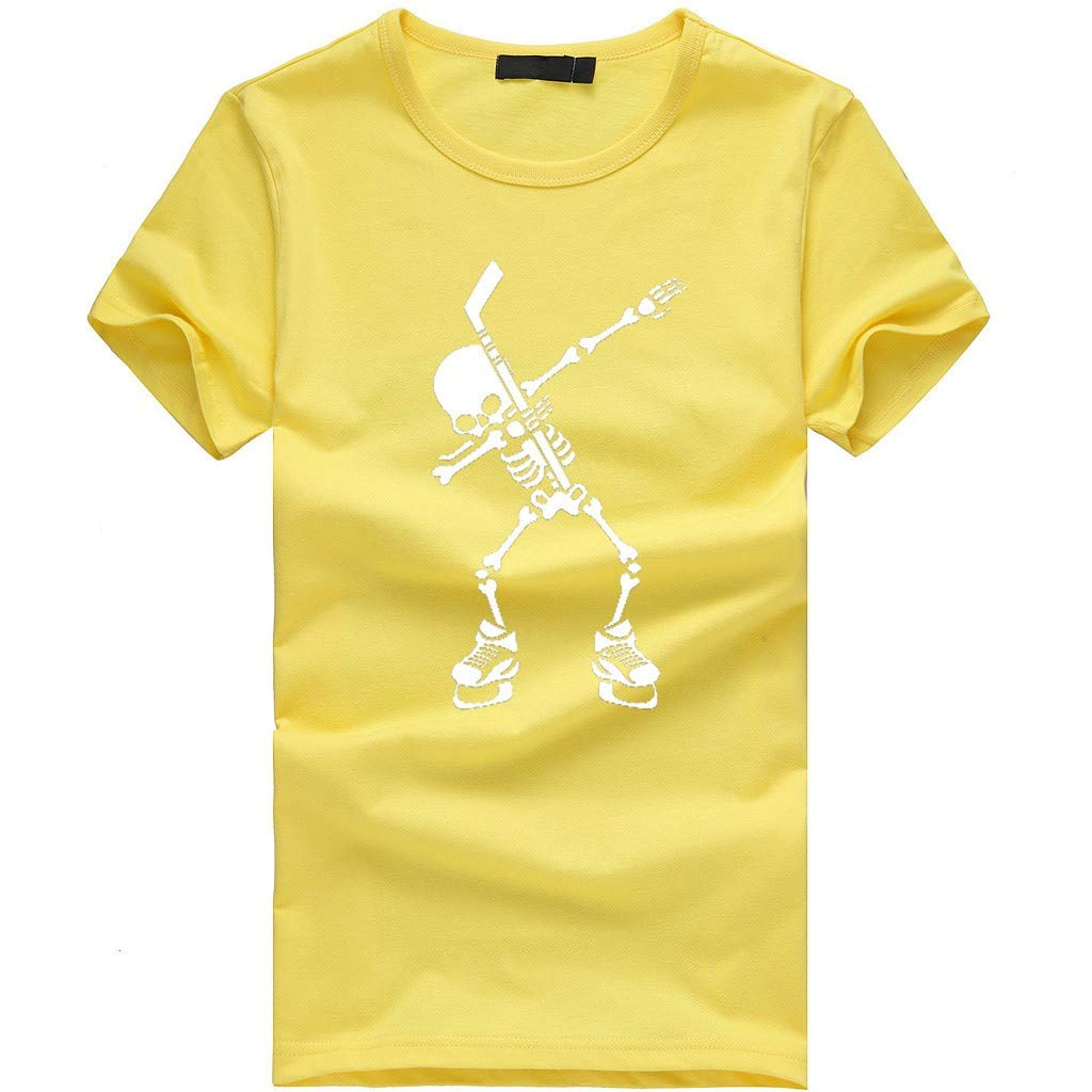 Gibobby Mens T Shirts,Casual Skull Graphic Funny Print Short Sleeve O-Neck Tees Cotton Tops T-Shirts for Summer Yellow