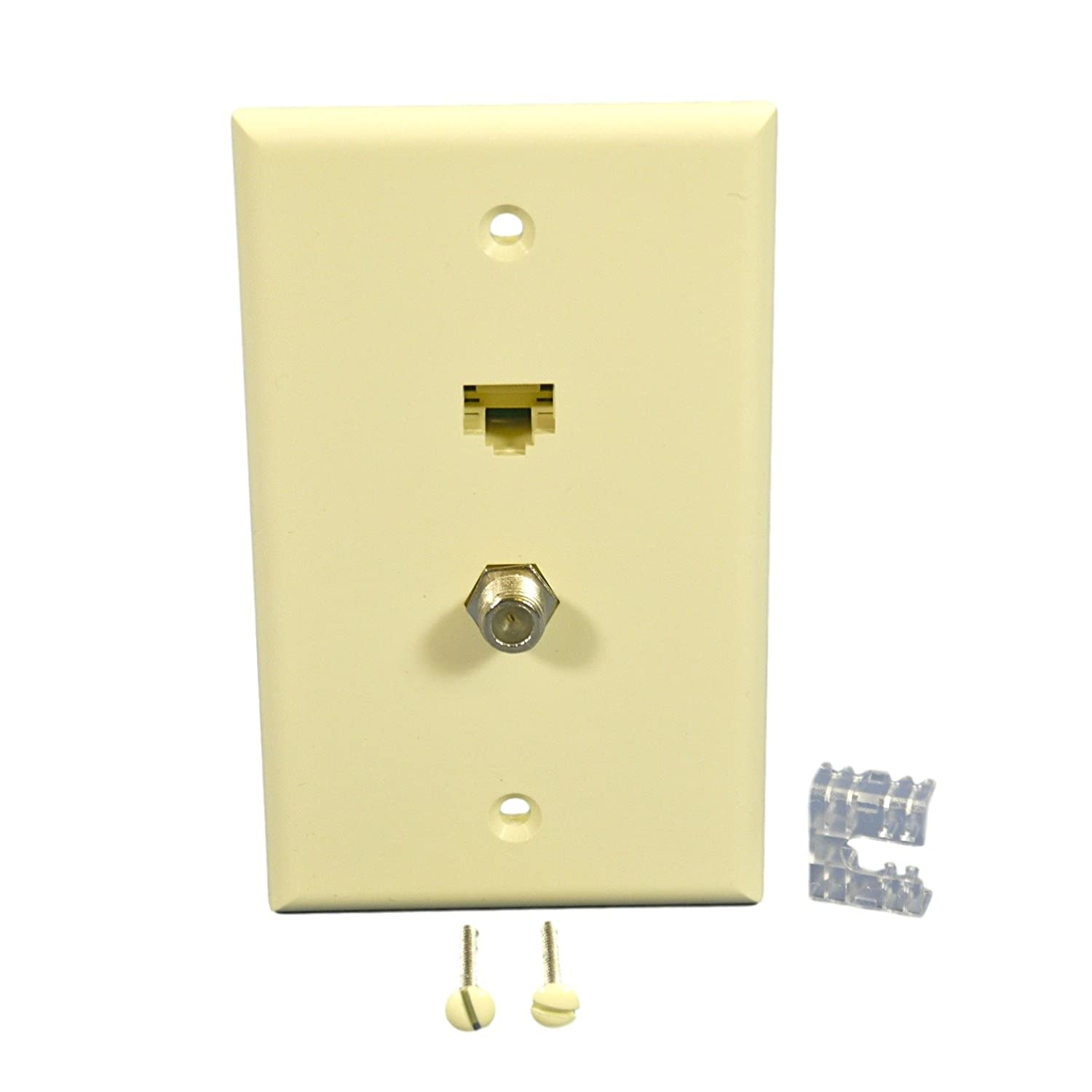 Leviton 5ea10 S2a Quickplate Standard Size 1 Gang 2 Port Cat6 Patch Panel 110 Type 24 568a B Compatible Wallplate Almond Home Audio Theater