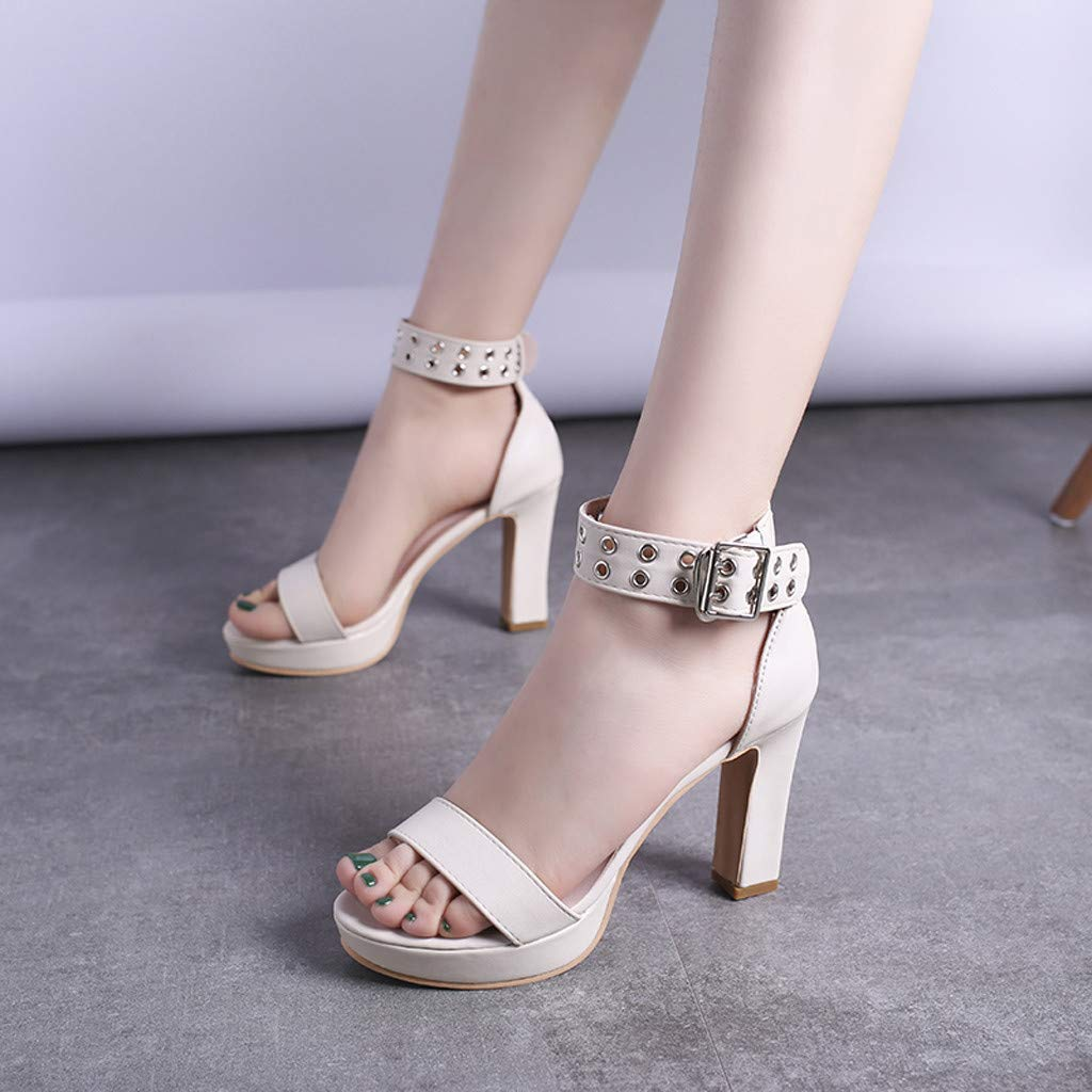 Womens Summer Open Toe Ankle Strap Chunky Block High Heel Dress Party Pump Sandals Beige by CCOOfhhc (Image #4)