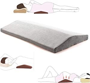 Lumbar Pillow for Sleeping Back Pain - Soft Memory Foam Sleeping Pillow for Lower Back Pain, Orthopedic Bed Cushion for Back & Side Sleepers, Lumbar Support Cushion for Leg, Knee & Hip Pain, Grey