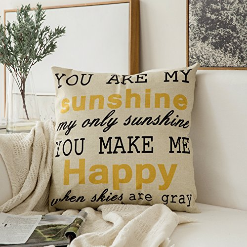 - MIULEE You are My Sunshine&You Make Me Happy Cotton Linen Decorative Throw Pillow Case Cushion Cover Pillowcase for Sofa Bed Car 18 x 18 Inch 45 x 45 cm