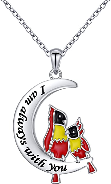 925 Sterling Silver Engrave Always in My Heart Angel Red Bird Cardinal Pendant Necklace and Earrings Sympathy Gift for Women Girls