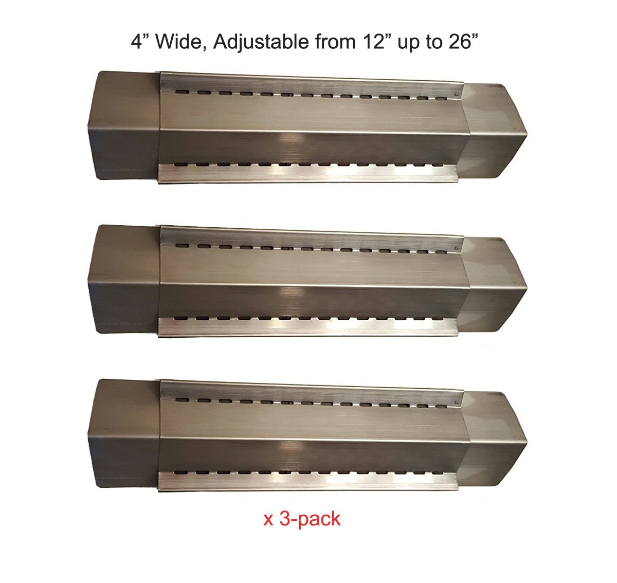 BBQ funland (3-pack) Stainless Steel Adjustable Heat Plate, Heat Shield, Heat Tent, Burner Cover and Flavorizer Bar for Grill King, Aussie, Charmglow, Brinkmann, Uniflame, Lowes Model Grills by BBQ funland