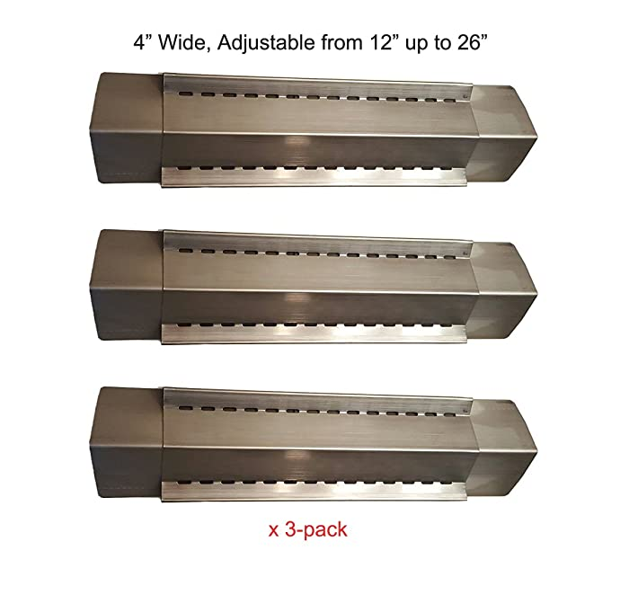 BBQ funland (3-pack) Stainless Steel Adjustable Heat Plate, Heat Shield, Heat Tent, Burner Cover and Flavorizer Bar for Grill King, Aussie, Charmglow, Brinkmann, Uniflame, Lowes Model Grills