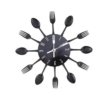 WINOMO creativa reloj de pared timelike moderno de cubierto cocina cuchara tenedor reloj de pared espejo adhesivo decorativo para pared para la decoración ...