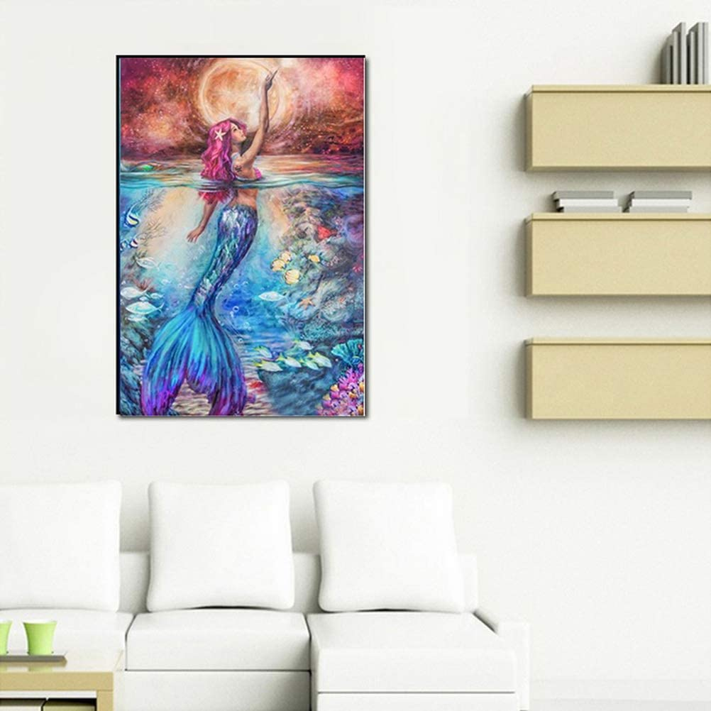 Mermaid 11.8 SUMAJU DIY 5D Diamond Painting by Number Kit 15.7Inch Full Drill Rhinestone Pictures Arts Craft for Home Wall Decor