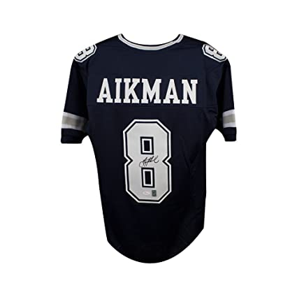307e81862 Image Unavailable. Image not available for. Color  Troy Aikman Autographed  Dallas Cowboys Custom Navy Football Jersey - JSA COA