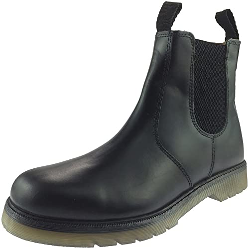 Grafters RONALD Mens Plain Air Cushion Sole Chelsea Dealer Work Boots Oily Brown