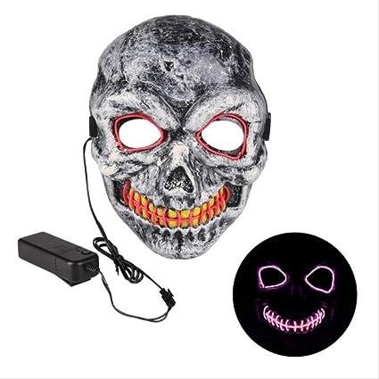 EL Neon Mask Glowing Halloween Skull Horror Mask Party ...