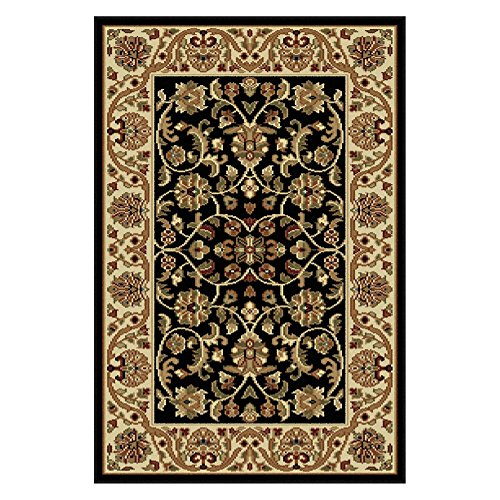 Border Rug Black Scroll - Universal Rugs Transitional Oriental 5 ft. 3 in. Octagon Area Rug , Black