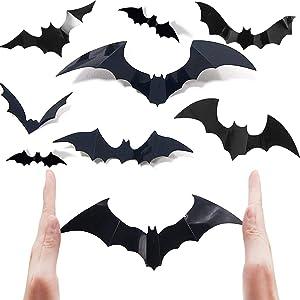 Ceonam Halloween Bats Decorations 60 Pcs 3D Scary PVC Paper Bats for Wall Decor Scary DIY Flying Bats Stickers, Halloween Indoor Decor Home Window Decoration Set