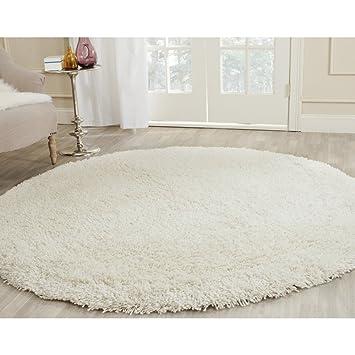 safavieh ultra classic shag collection sg140a handmade white round area rug 4u0027 diameter