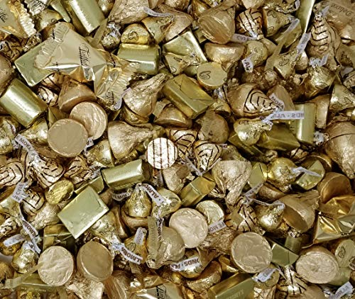Gold Foil Chocolate Candy Assortment - Kisses Deluxe, Hershey's Nuggets, Hershey's Kisses, Truffles - Wedding Party Candies, 3 Lbs