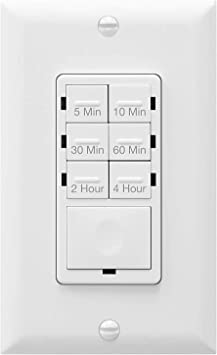 Enerlites 4 Hour Countdown Timer Switch 5 10 30 60 Min 2 4 Hour For Bathroom Fans Heaters Lights Led Indicator 120vac 800w No Neutral Wire Required Ul Listed Het06 J W White Amazon Com