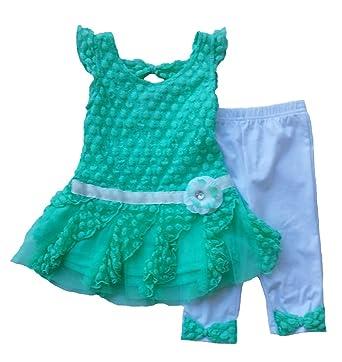 91149a13e851 Amazon.com  Little Lass Baby Girls  Dot Lace Top and Crop Legging ...
