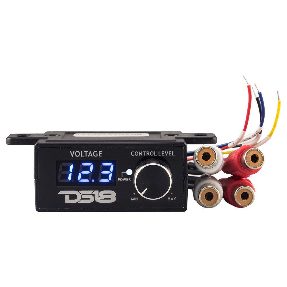 DS18 BKVR Universal Wired Bass Knob Remote Controller for Car Amplifier Level with Digital Volt-Meter via RCA Line Input/Output BK VR