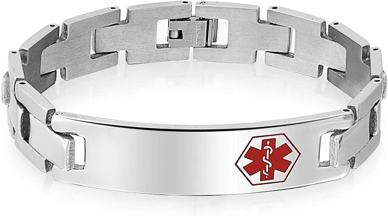 Bling Jewelry Médicos Identificación Médica Personalizado Watchband Brazalete Alerta Médica para Hombre Tono Plateado Mate, Acero