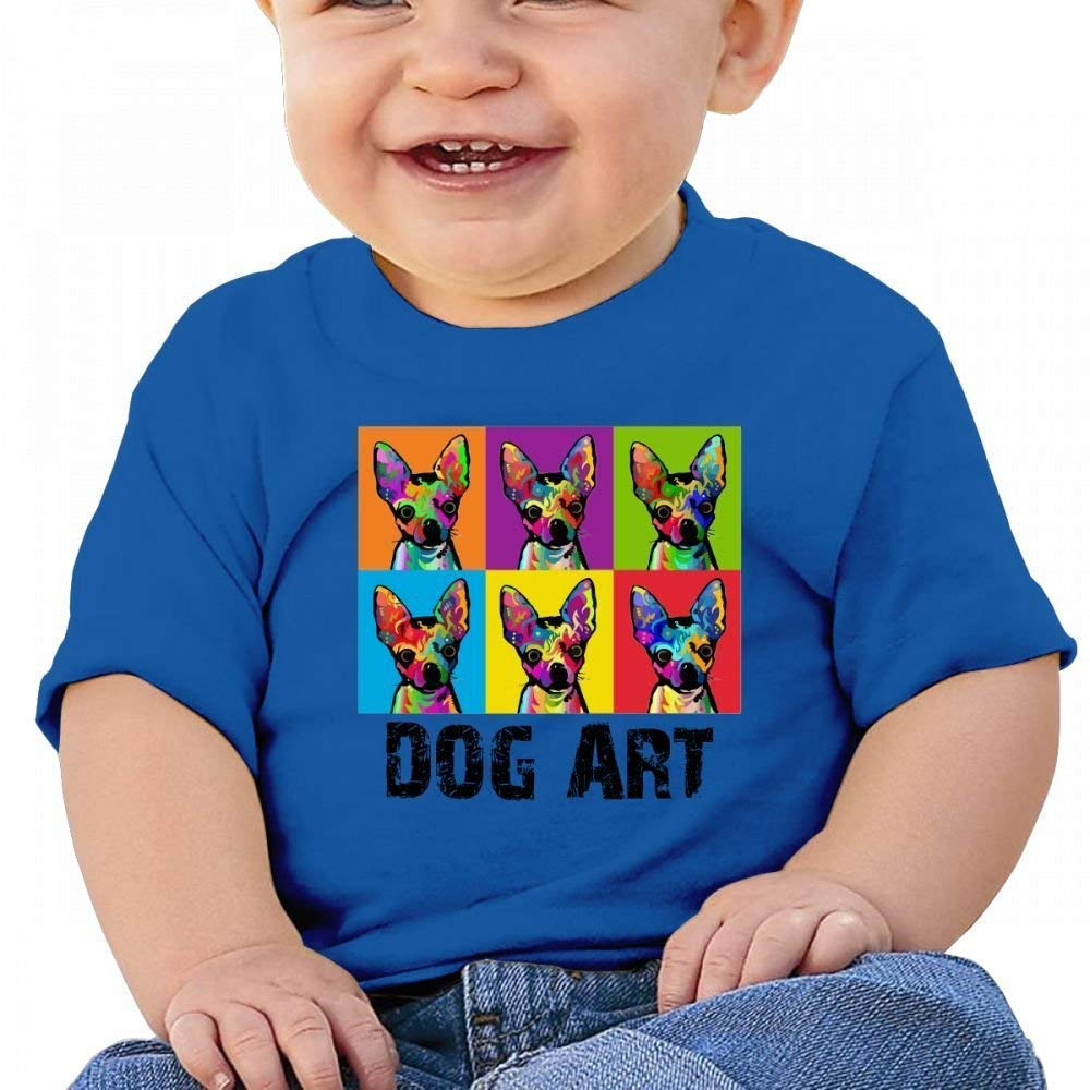 Funny Dog Pop Art Baby Casual Round Neck T-Shirts Short eeve T